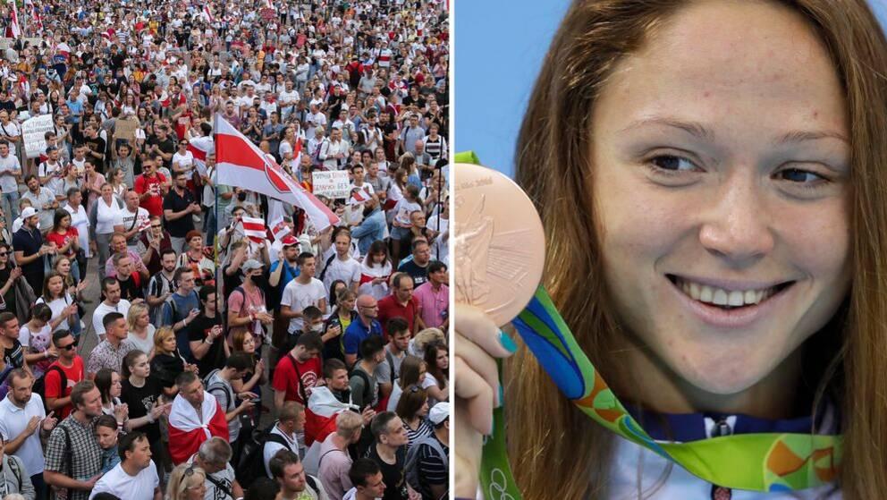 Simmaren Aleksandra Gerasimenja, med flera OS-medaljer på meritlistan, har skrivit under protesten.