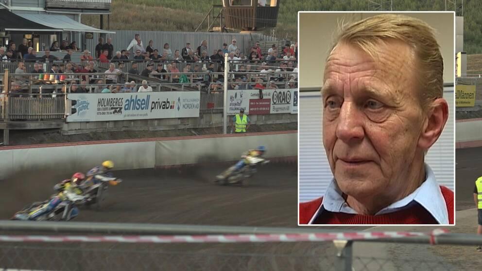 Publik på speedway i Västervik och klubbens ordförande Seimour Östervall