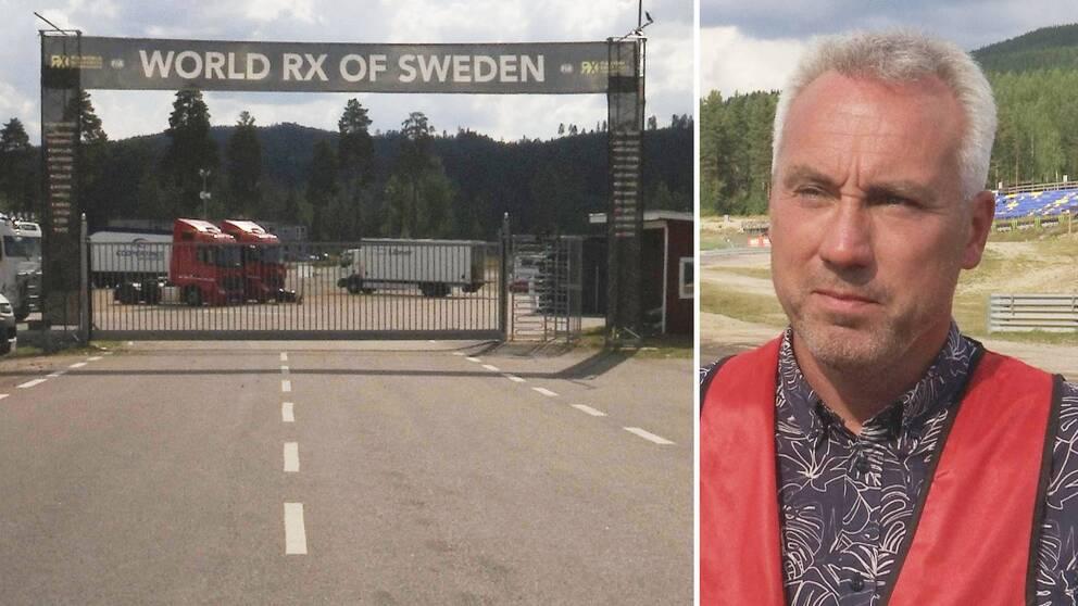 Två bilder. Till vänster stängda grindar vid depån på Höljes motorstadion. Till höger Morgan Östlund.