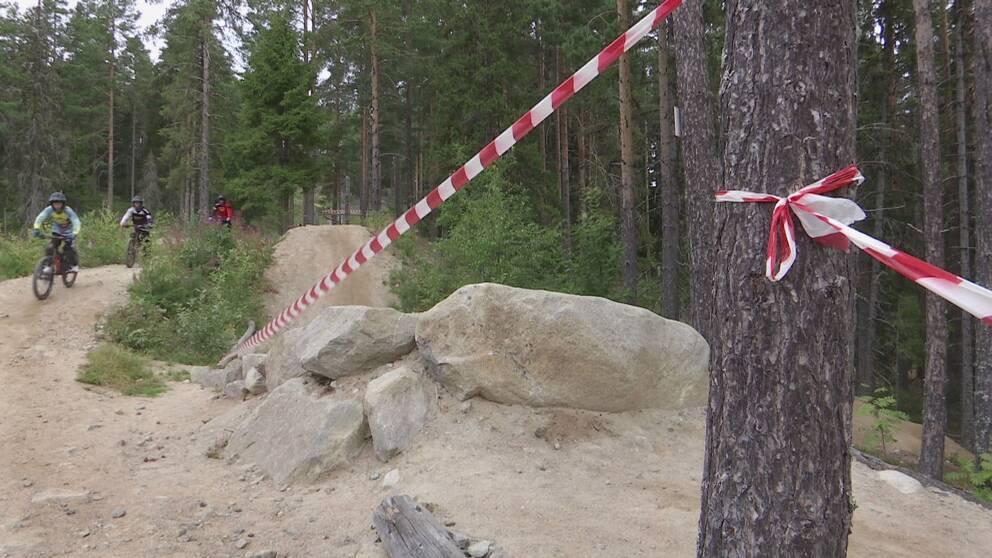 plastband spända från ett träd vid downhill-cykelled, personer cyklar i bakgrunden.