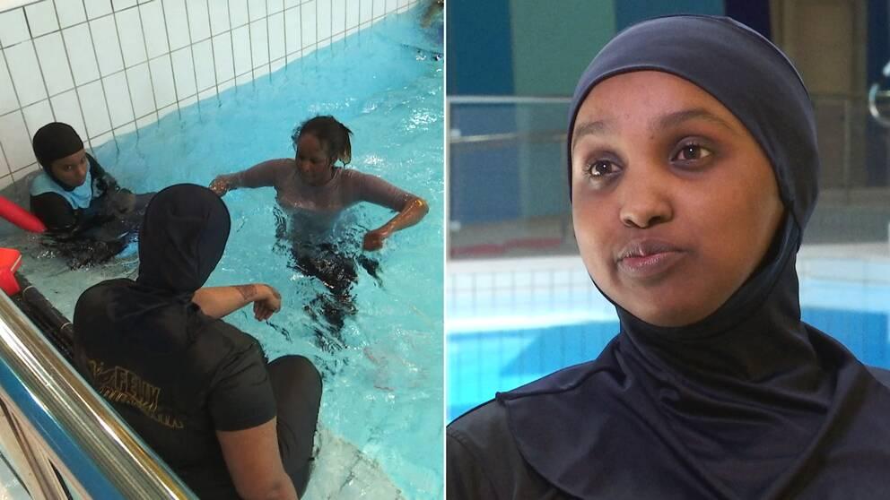 Unga kvinnor som badar, samt porträtt ung kvinna i badkläder