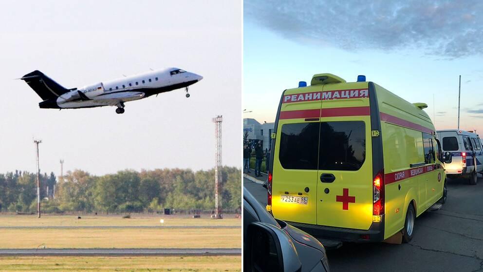 Aleksej Navalnyj lämnar Omsk i ett tyskt ambulansplan
