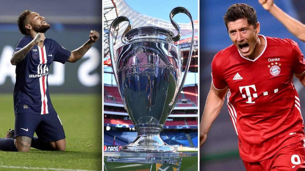 Neymars PSG och Robert Lewandowskis Bayern München möts i söndagens Champions League-final i Lissabon.