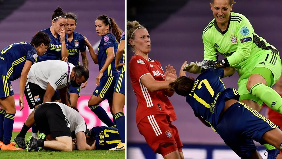 Lyons Nikita Parris nickar in 1-0 mot Bayern München. Hon får även en smäll av målvakten Laura Benkarth.