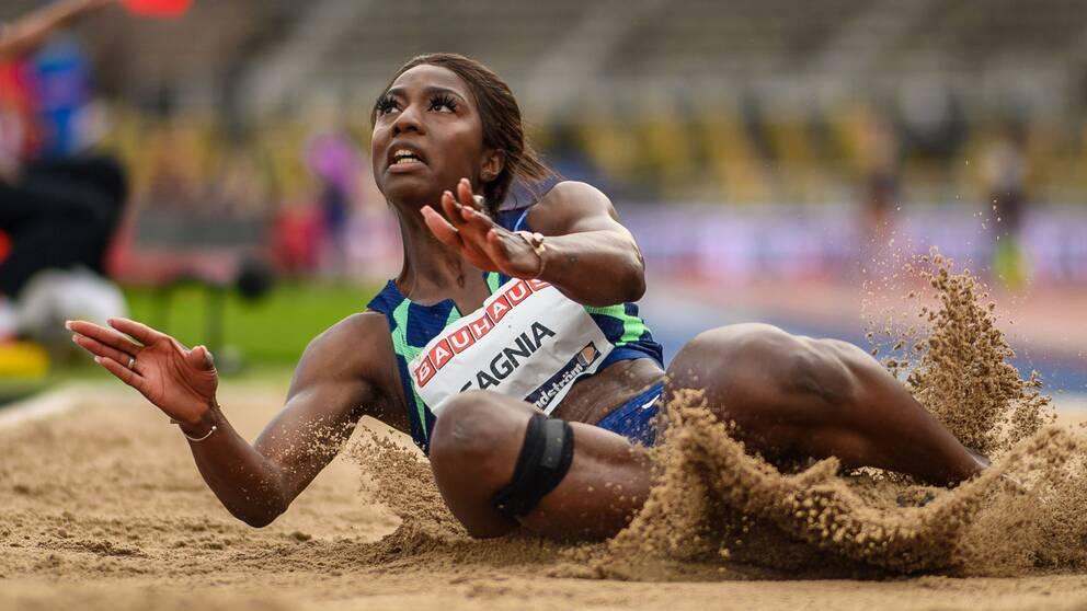 Khaddi Sagnia hoppade nytt personbästa i längdhoppet under söndagens friidrottstävlingar i Stockholm.