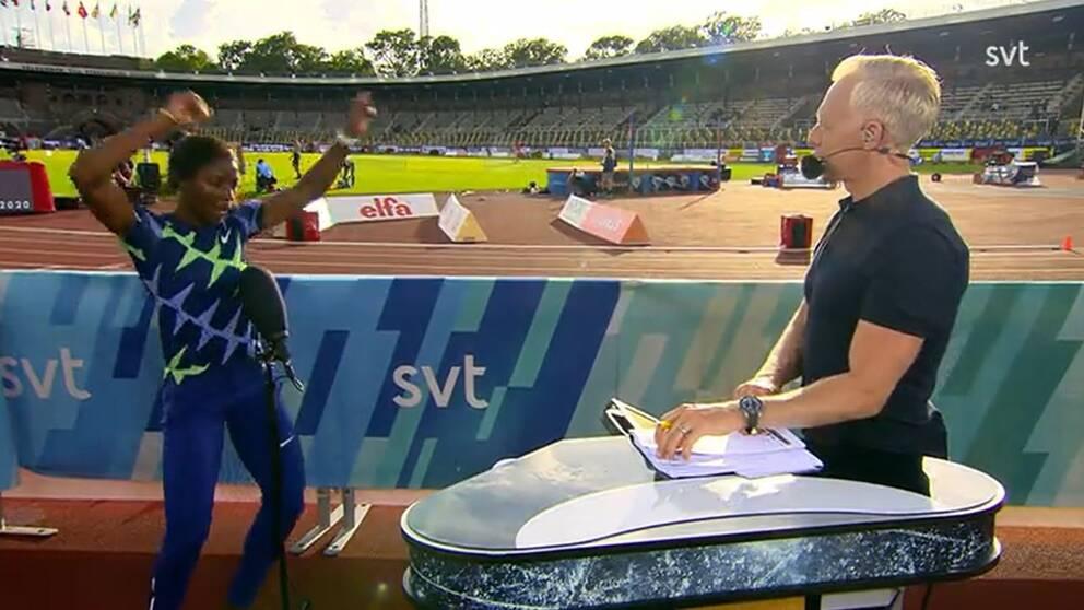Khaddi Sagnia bjöd på dans efter att ha hoppat 6,83 i Stockholm.