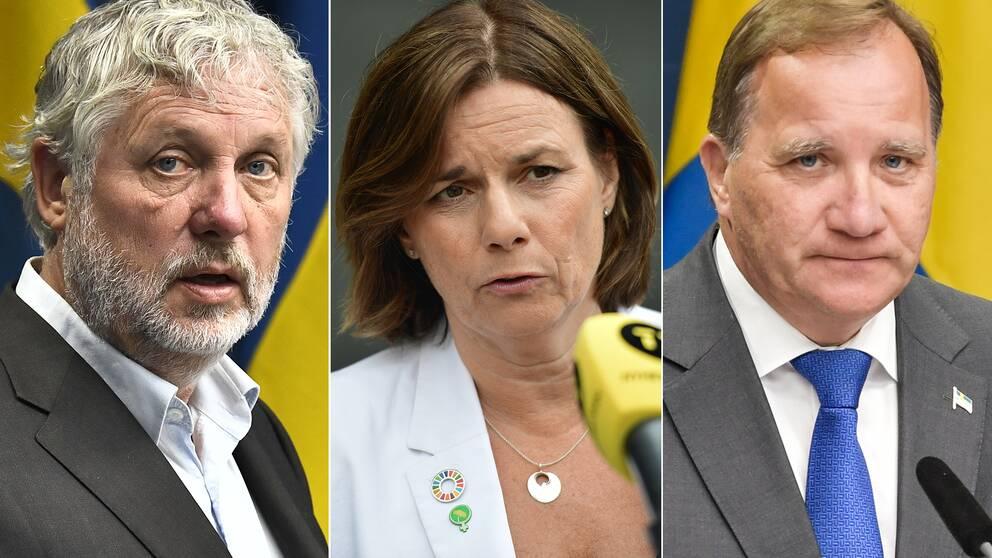 Peter Eriksson (MP), Isabella Lövin (MP) och Stefan Löfven (S).