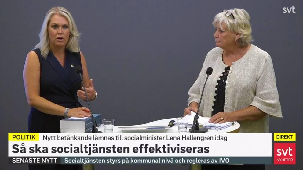 Socialminister Lena Hallengren (S) och regeringens särskilda utredare MArgareta Winberg.