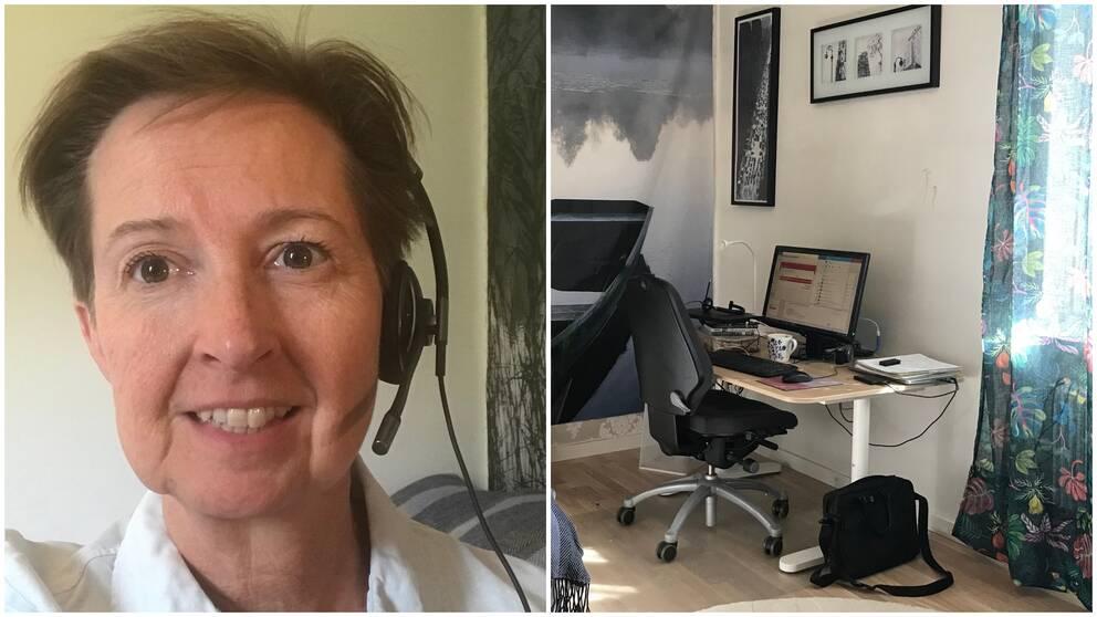 Tina Eriksson, en av alla som distansarbetar och hennes hemmakontor.