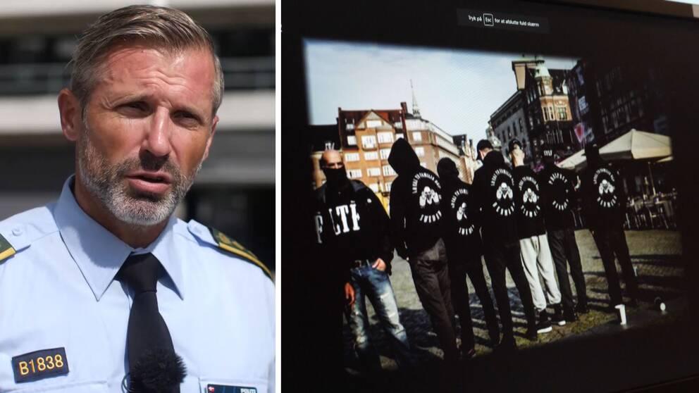 Dansk polis poch bild på danskt gäng