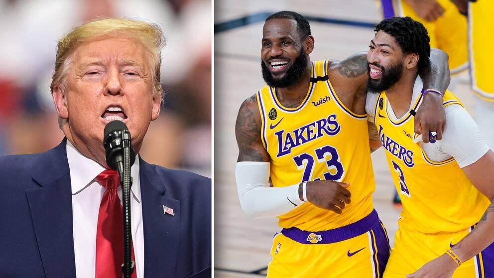 USA:s president Donald Trump tycker att bojkotten i NBA förstör basketen.