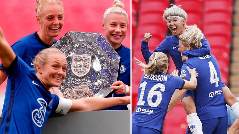Magdalena Eriksson firar tillsammans med lagkamrater i Chelsea.
