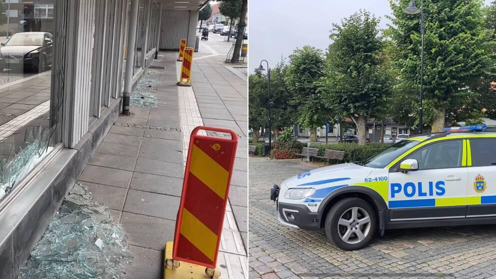 polisbil och glassplitter