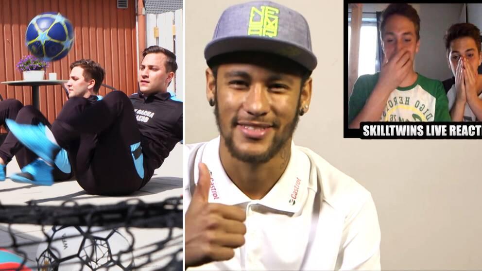 SkillTwins till vänster och höger samt Neymar i mitten.