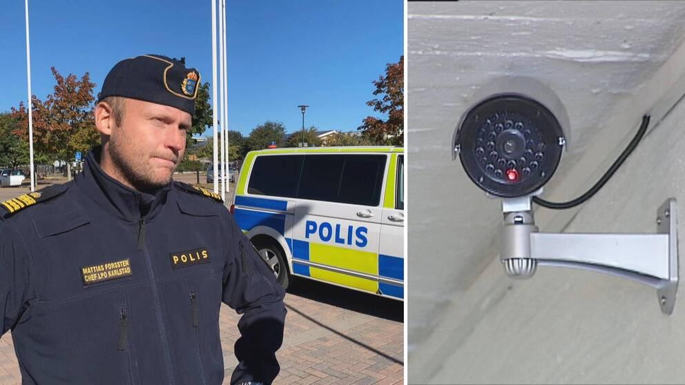 Mattias Forssten i polisuniform framför en polisbuss samt en närbild på en övervakningskamera.