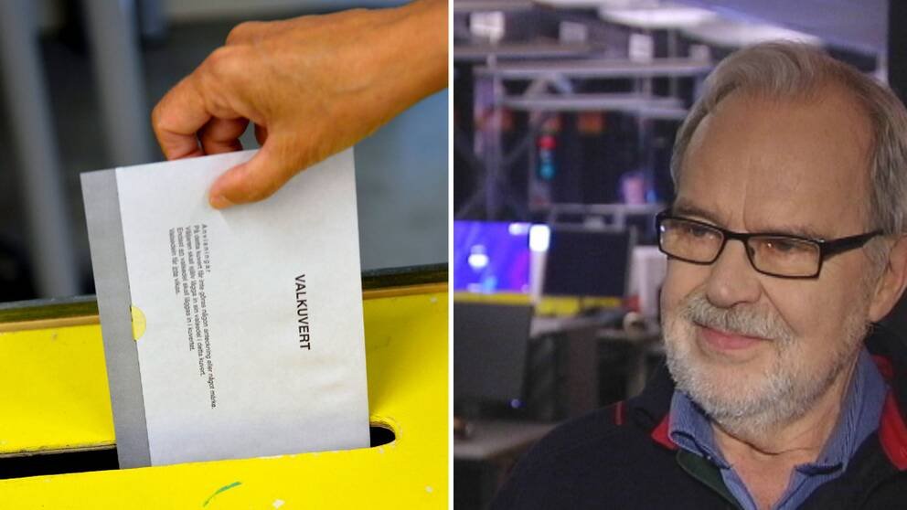 valkuvert stoppas ner i valurna, folkomröstningsexperten Folke Johansson