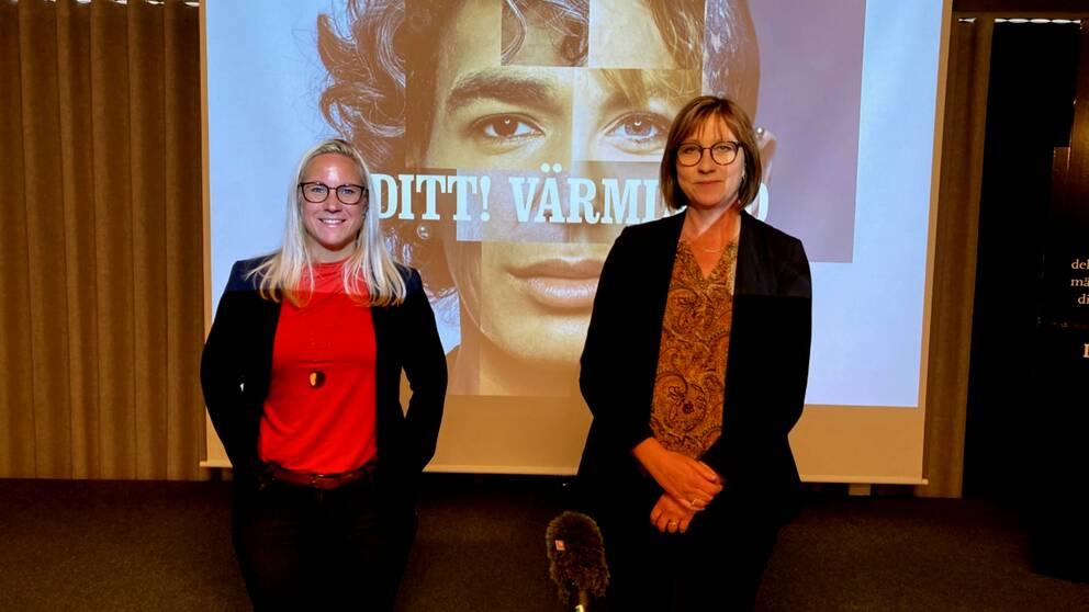 Åsa Johansson(S) och Stina Höök(M) på presskonferensen om Värmlandsstrategin 2040.