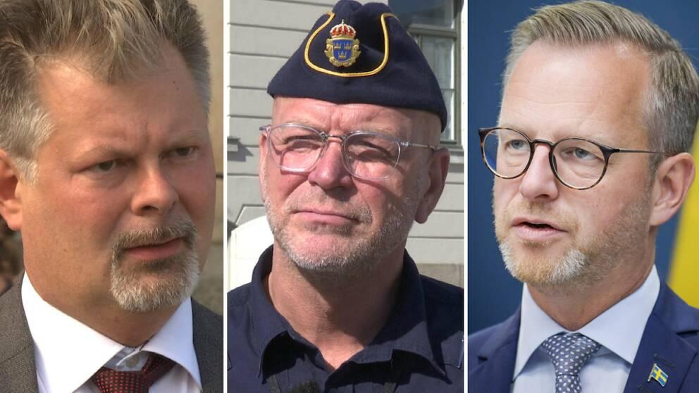 Man med skägg, man med skägg och polismössa och glasögaon, man med glasögon och blå slip.s