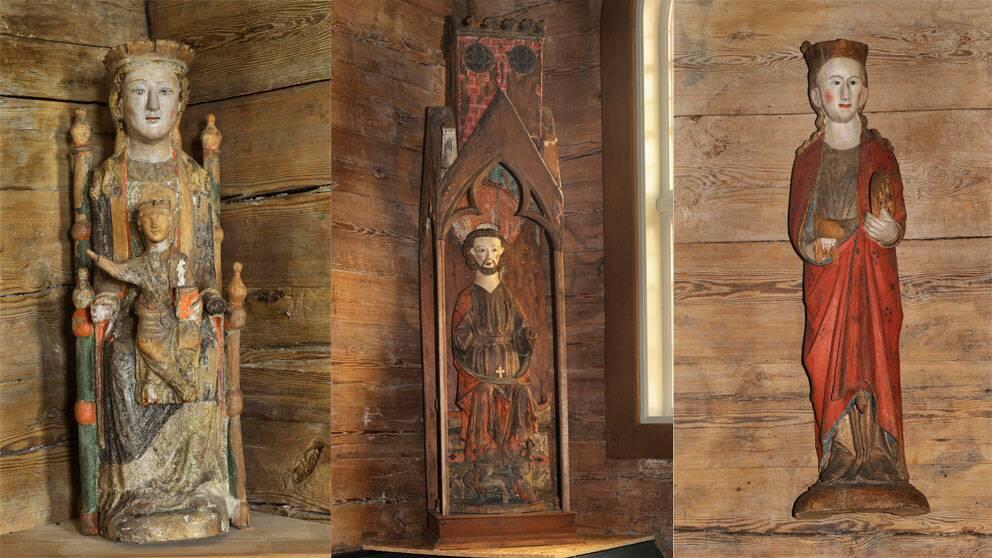 Tre stulna träskulpturer