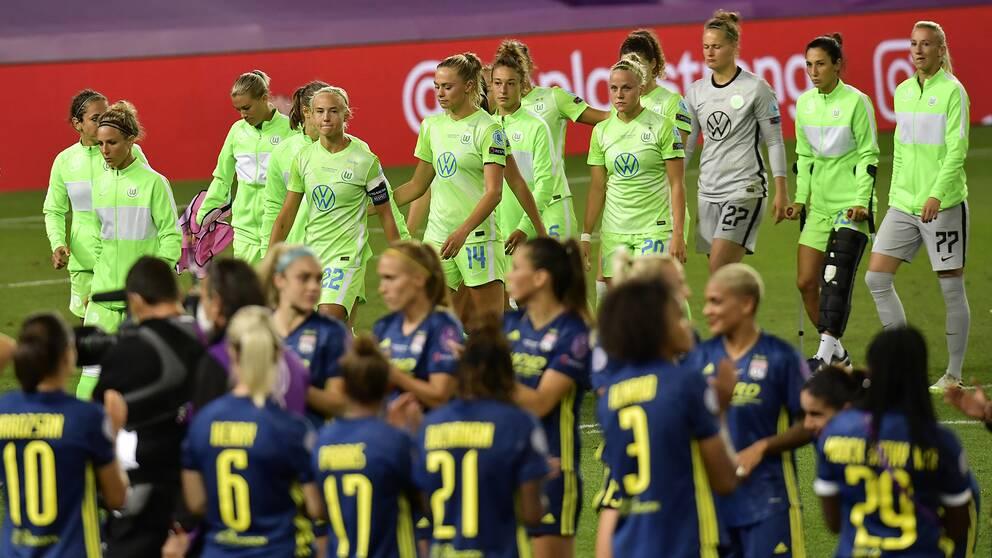 Wolfsburg deppar efter förlusten i Champions League-finalen mot Lyon i söndags.