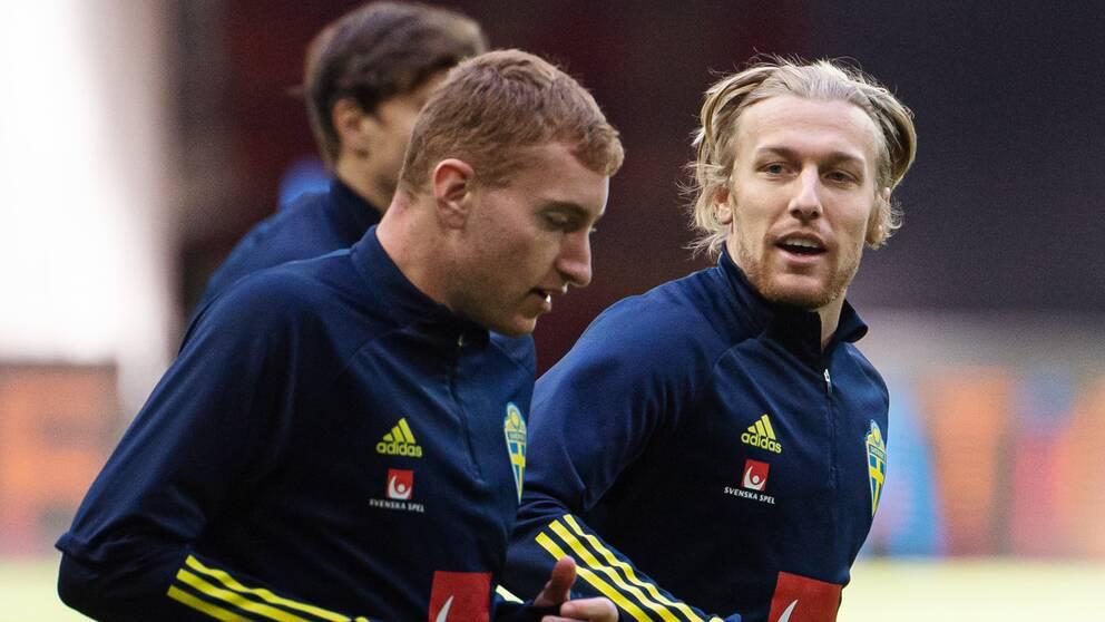 Emil Forsberg (till höger) är imponerad av Dejan Kulusevskis (vänster) utveckling.