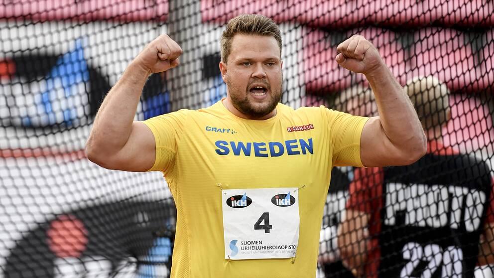 Sveriges Daniel Ståhl i herrarnas diskus under lördagens Finnkamp.