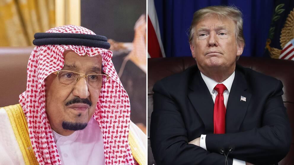 Kung Salman sade till Trump att Saudiarabien vill se en rättvis och permanent lösning på den palestinska frågan, när de två ledarna samtalade i telefon under måndagen. Bilden visar kung Salman och president Donald Trump.