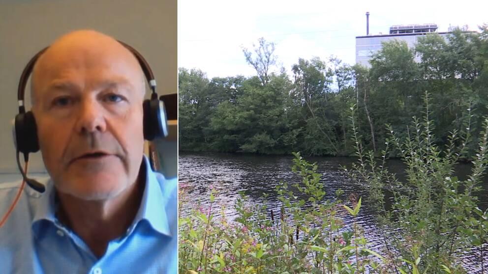 På bilden syns avfallsanläggningen Kristinehed som ligger längs Nissan, bilden är delad och även Per Leander syns med hörlurar och en blå skjorta.
