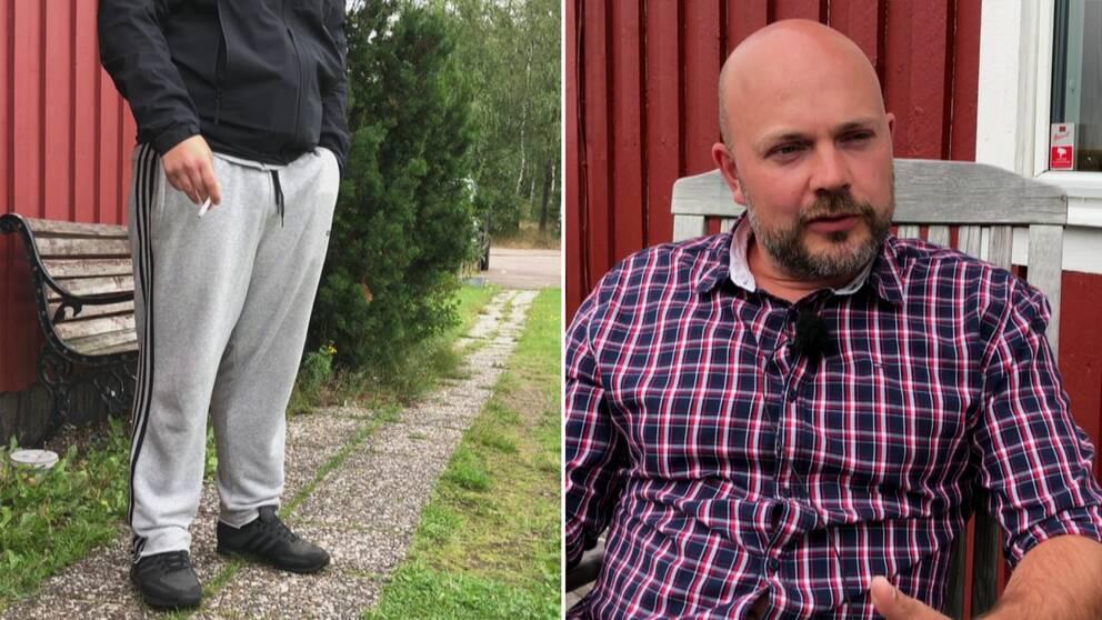 Till vänster en ung kille som står och röker, bilden är anonym. Till höger en man som sitter på en altan och pratar.