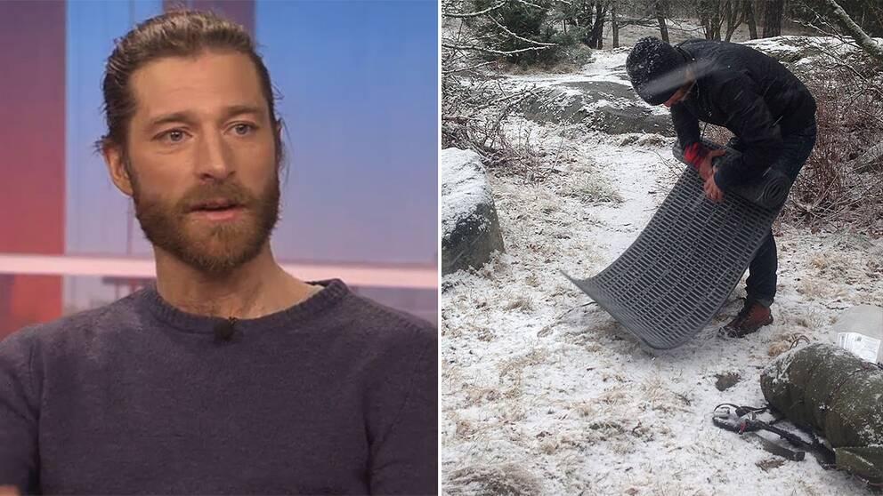 Efter en natt i sovsäck utomhus i närheten av tv-huset berättade Markus Torgeby i Gomorron Sverige om sina livsval som bland annat inneburit att han bott fyra år i en kåta.