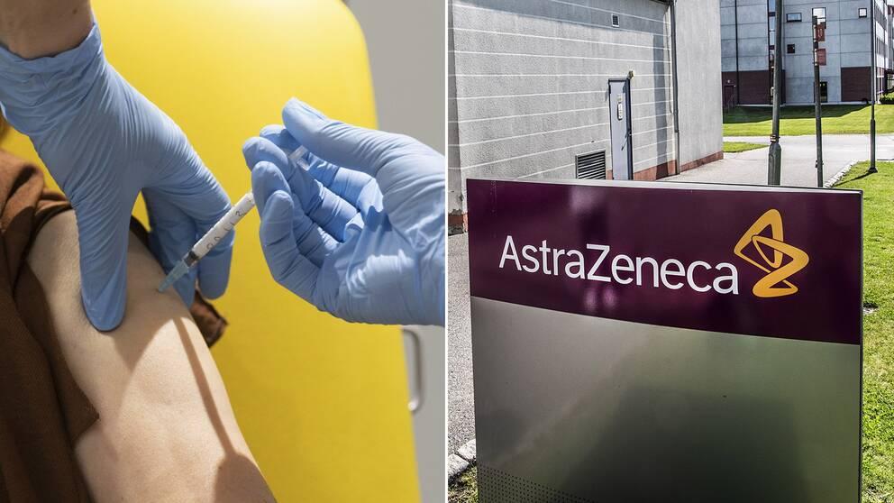 Astra Zeneca pausar testerna av vaccinet mot covid-19 som företaget utvecklar, då en testperson blivit sjuk. Bilden visar en person som testar vaccin, samt Astra Zenecas logga.