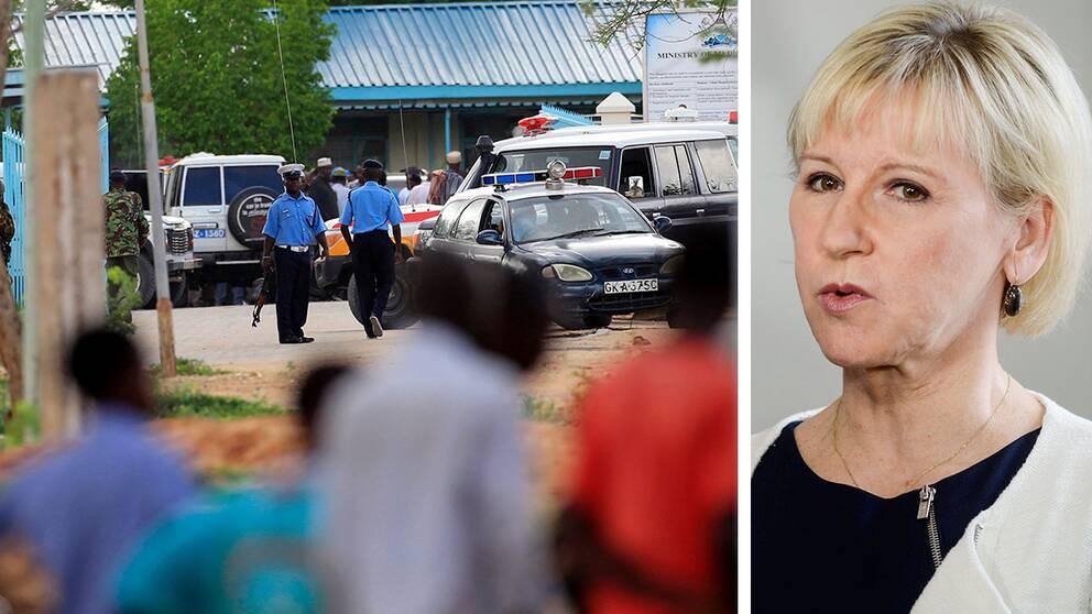"""Nästan 150 människor dödades i attacken mot universitetet i Kenya. Nu går kenyanska polisen ut med en belöning på 1,8 miljoner kronor till den som bidra till att den ansvariga grips – och Sveriges utrikesministern Margot Wallström fördömer attacken: """"De ansvariga för detta förskräckliga dåd måste ställas inför rätta"""", säger hon."""