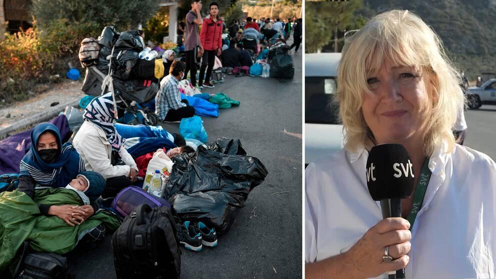 SVT:s korrespondent Erika Bjerström i Grekland. Flyktingar och migranter som efter branden i Moria sover på gatan.