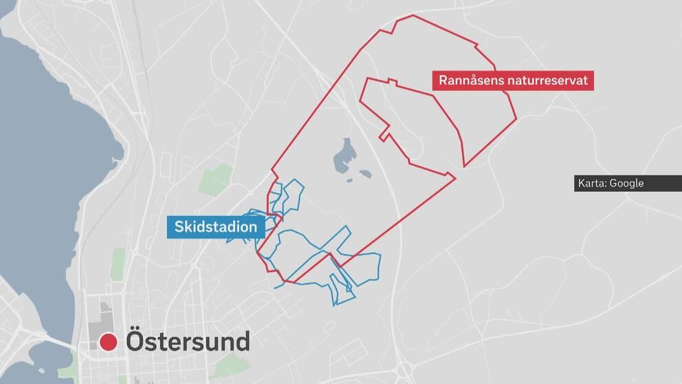 Karta över Östersund där man ser Rannåsens naturreservat markerat med rött och med blå streck ser man skidspår som går in och ut ur naturreservatet.