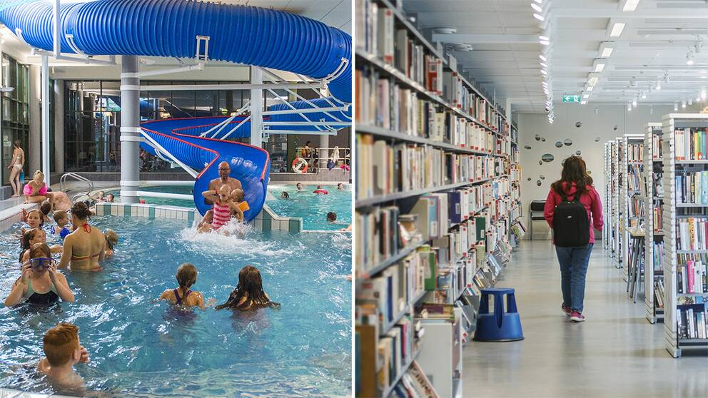 En bild på en simhall och på ett bibliotek.