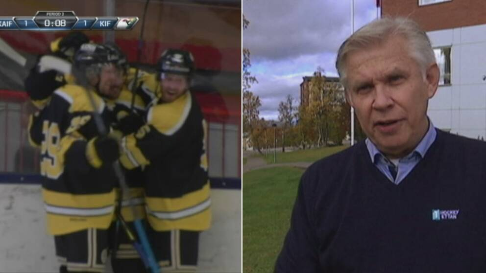 Till vänster i bild ser man Kiruna AIF fira efter ett mål. Till höger i bild ser man Hockeyettans ordförande Ronnie Glysing.