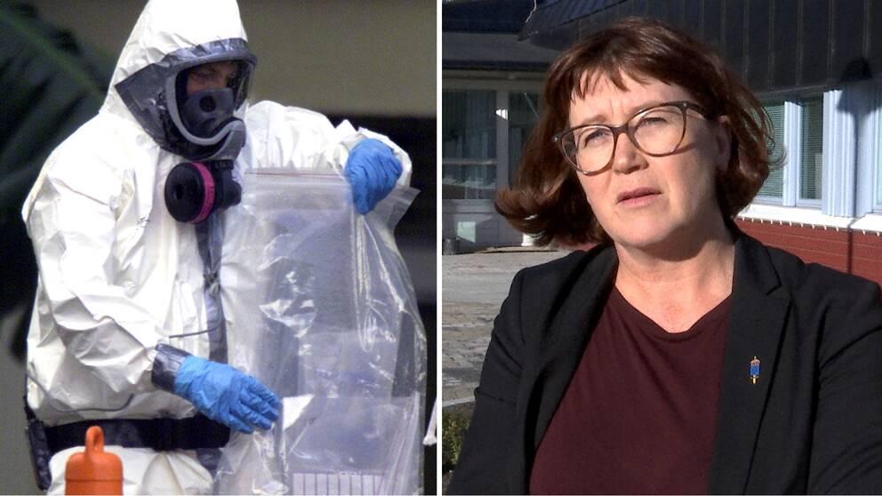 En medarbetare vid the Coast Guard National Strike Force team hämtar prover av misstänkt Anthrax vid ett företag i USA i oktober, 2001. Till höger Åsa Scott utanför FOI i Umeå i mörk kavaj, glasögon och mörkbrunt halvlångt hår.