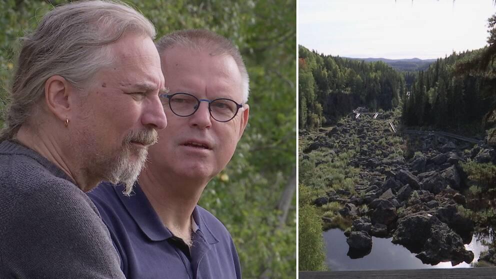 Dubbelbild. Till vänster två män står och pratar med varandra. I bakgrunden grönska. Den ena mannen står profil och tittar åt höger, han har långt grått hår i hästsvans och ring i örat. Den andra mannen står lite till höger, har glasögon och kort grått hår. Han tittar på den första mannen. Till höger en vybild över Döda Fallet, en torrlagd älvfåra.