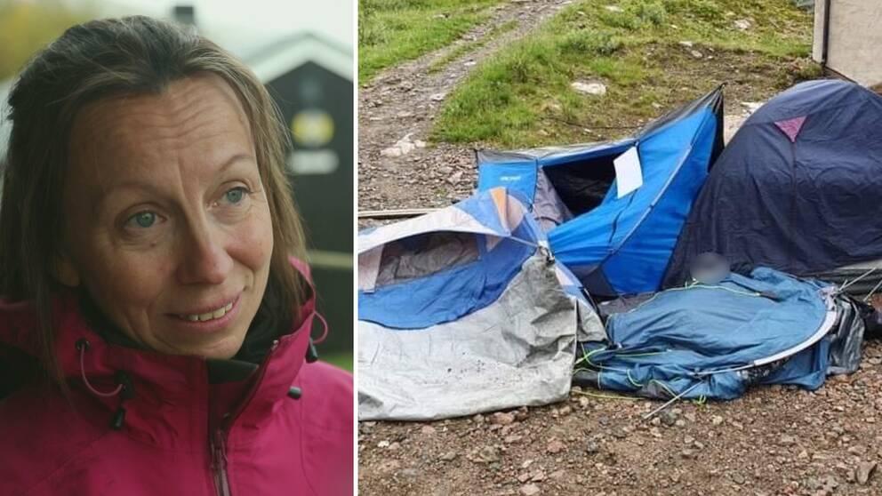 Bild på en kvinna i rosa jacka och massa trasiga tält.