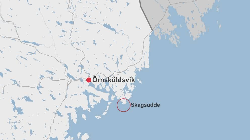 En karta över delar av Västernorrland där Skagsudde finns utmärkt.