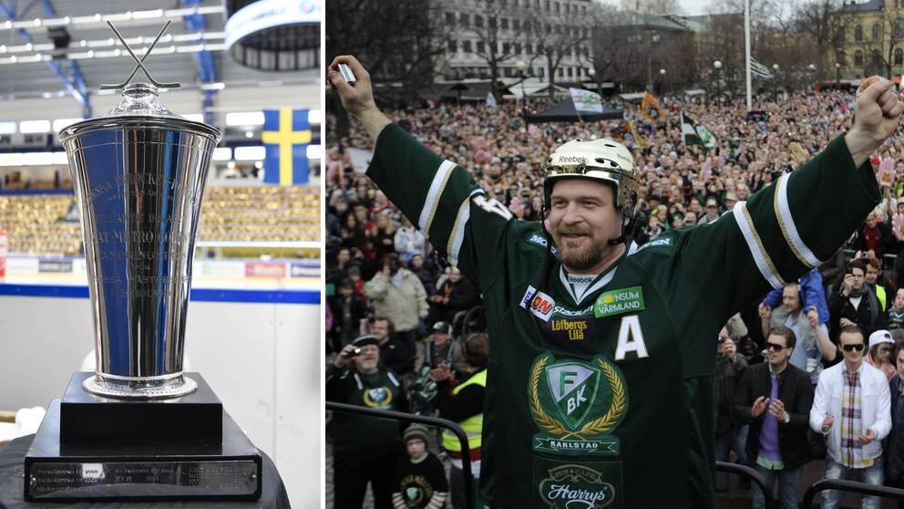 Till vänster pokalen Le Mat som delas ut till laget som vinner SM-guld i ishockey. Till höger Jonas Frögren med ryggen vänd mot publiken på Stora torget i Karlstad.
