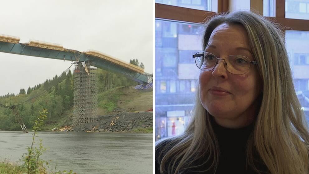 Tekniska nämndens vice ordförande Anna-Karin Sjölander (C) kommenterar broraset vid Västra länken i Umeå