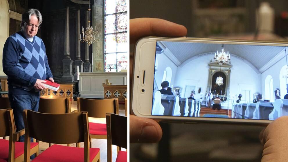 Bilden är ett collage i två delar med lodrät avskiljare. Vänster del: Prästen Björn Wiksten står i en kyrka hållandes i en psalmbok. Höger del: En person håller i en mobiltelefon som visar en livestream av en begravning.