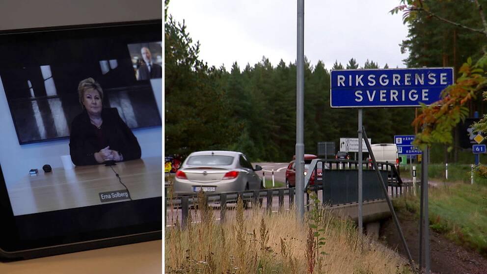 Erna Solberg, och gränsen mellan Norge och Sverige