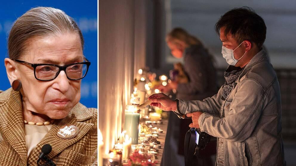 Ruth Bader Ginsburg hyllas utanför Högsta domstolen
