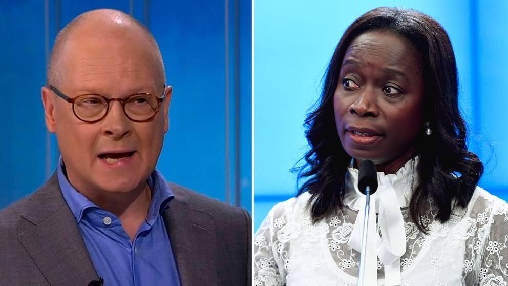 SVT:s inrikespolitiska kommentator Mats Knutson och Liberalernas partiledare Nyamko Sabuni