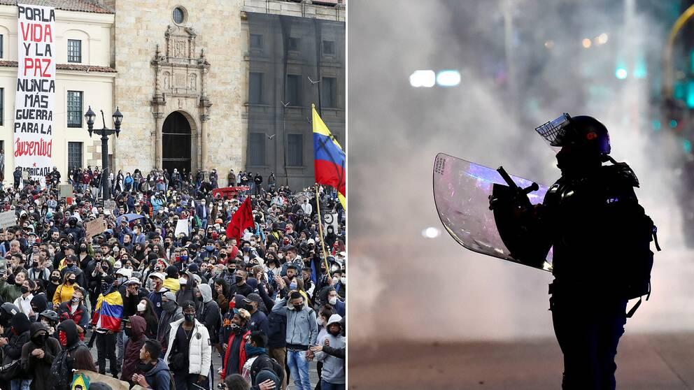 Stora demonstrationer genomförs i Colombias huvudstad, dels mot den sittande regeringen, dels mot polisvåld.