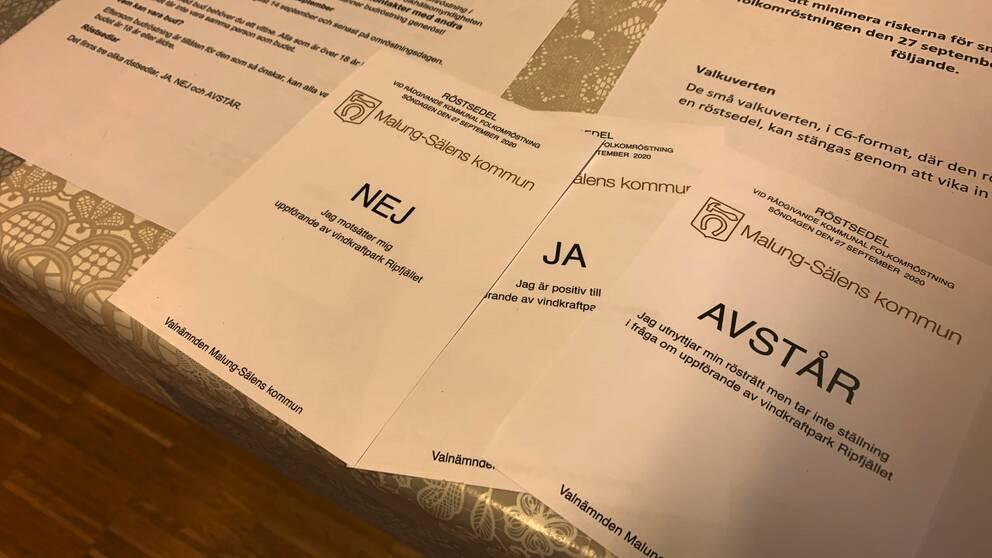 Röstsedlar från Malung-Sälens kommun.