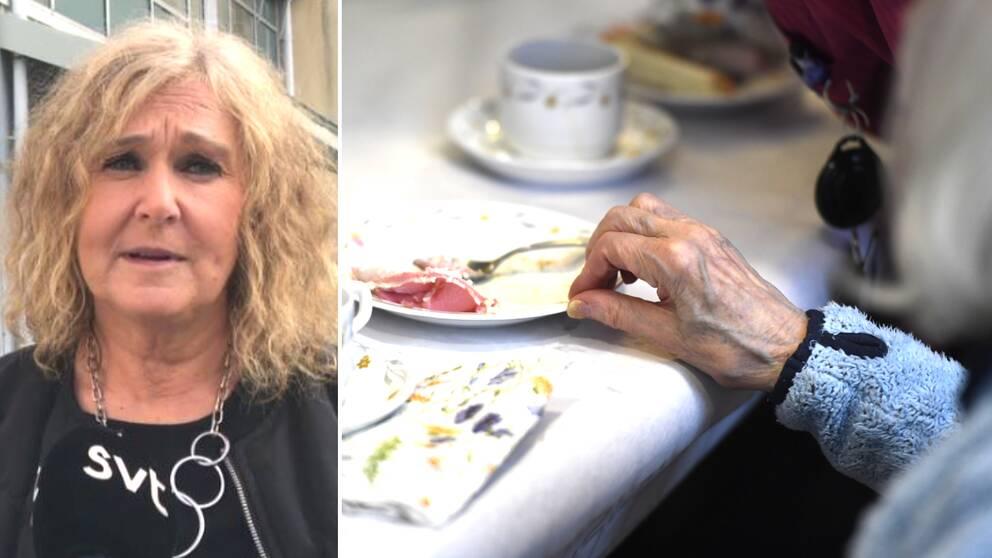 Helene Ljungqvist till vänster, och i en bild intill syns en äldre kvinna vid ett fikabord.