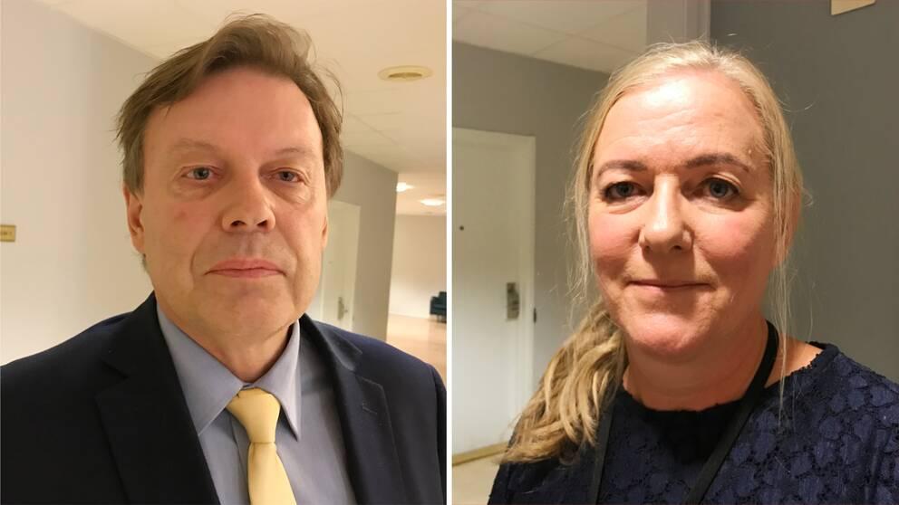Advokaten Peter Eklund och åklagaren Maria Edström på plats i Eskilstuna tingsrätt.